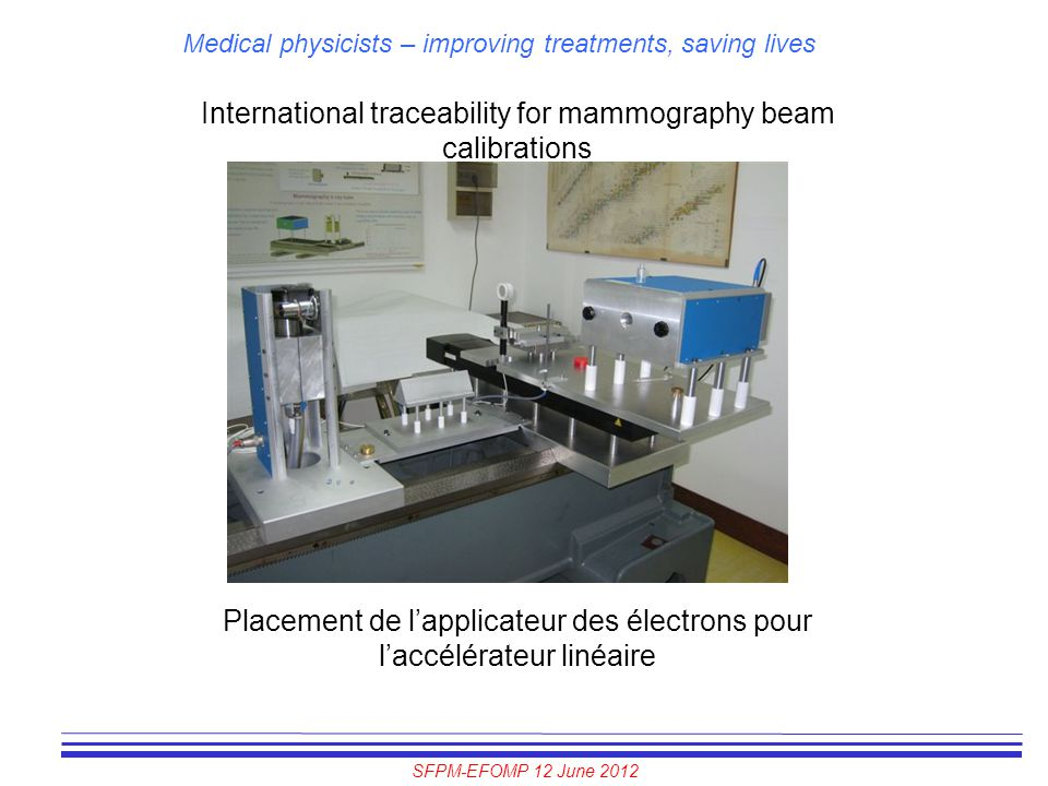 SFPM-EFOMP 12 June 2012 Medical physicists – improving treatments, saving lives International traceability for mammography beam calibrations Placement
