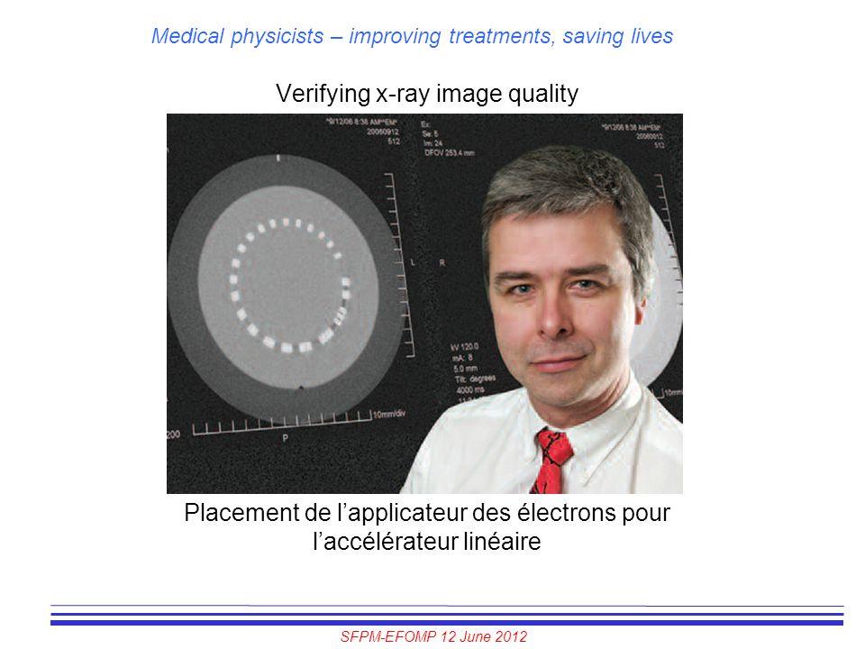 SFPM-EFOMP 12 June 2012 Medical physicists – improving treatments, saving lives Verifying x-ray image quality Placement de l'applicateur des électrons