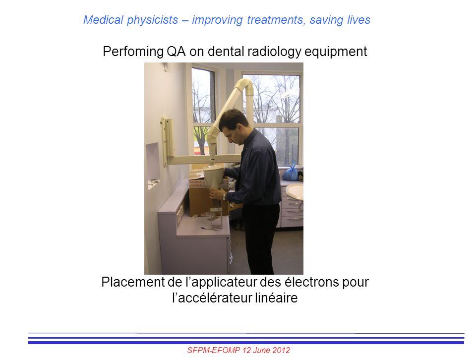 SFPM-EFOMP 12 June 2012 Medical physicists – improving treatments, saving lives Perfoming QA on dental radiology equipment Placement de l'applicateur