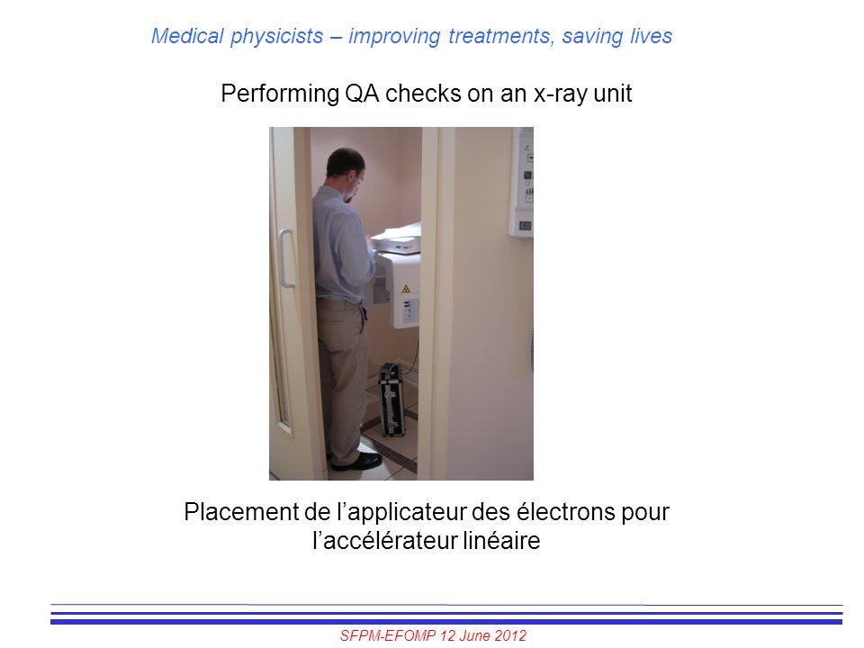 SFPM-EFOMP 12 June 2012 Medical physicists – improving treatments, saving lives Performing QA checks on an x-ray unit Placement de l'applicateur des é