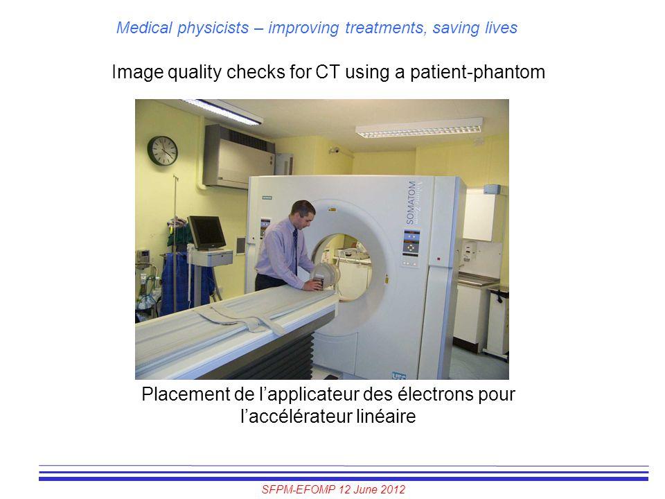 SFPM-EFOMP 12 June 2012 Medical physicists – improving treatments, saving lives Image quality checks for CT using a patient-phantom Placement de l'app