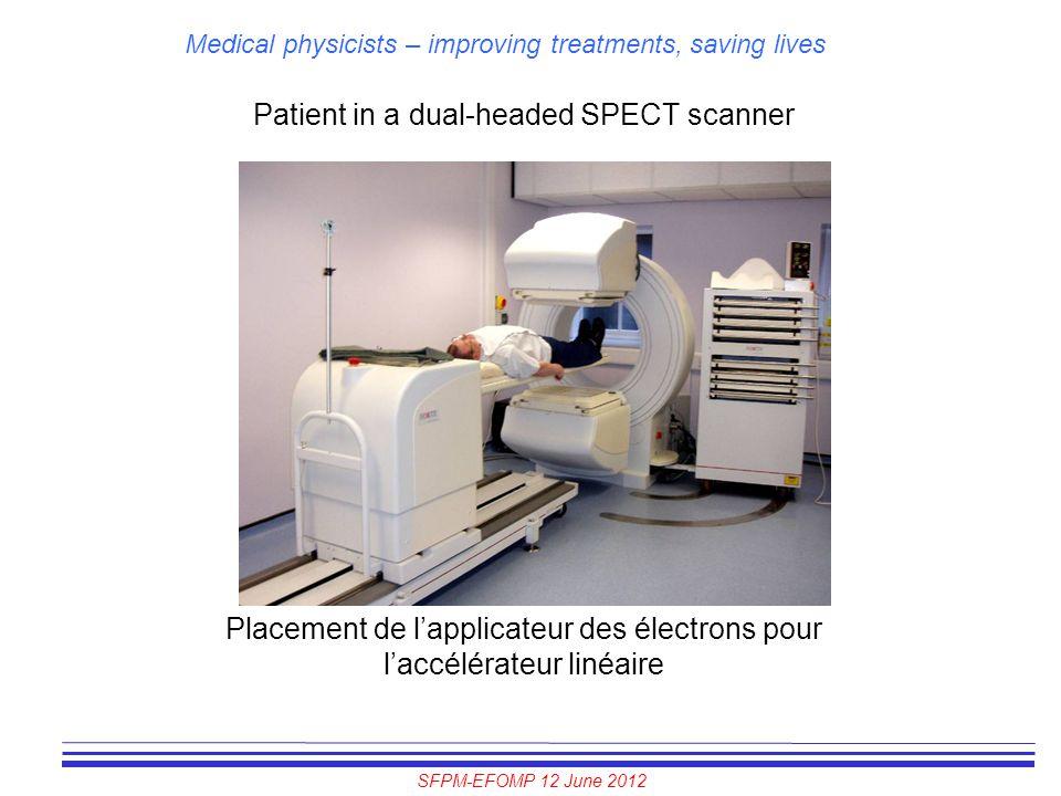 SFPM-EFOMP 12 June 2012 Medical physicists – improving treatments, saving lives Patient in a dual-headed SPECT scanner Placement de l'applicateur des