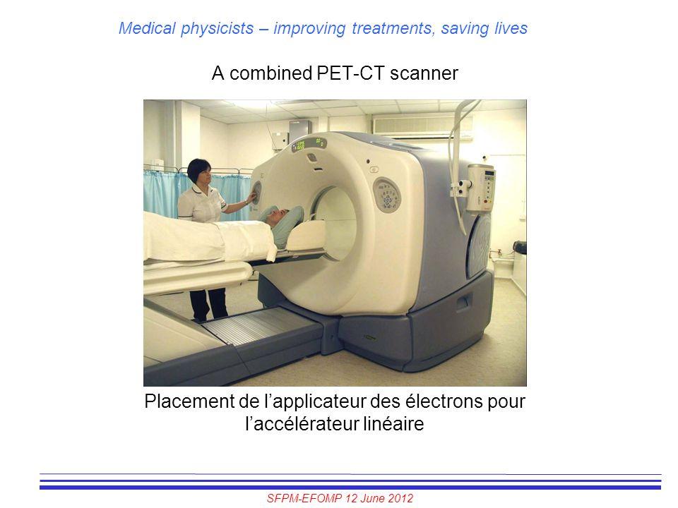 SFPM-EFOMP 12 June 2012 Medical physicists – improving treatments, saving lives A combined PET-CT scanner Placement de l'applicateur des électrons pou