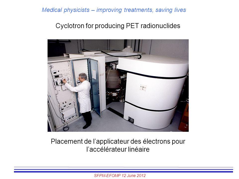 SFPM-EFOMP 12 June 2012 Medical physicists – improving treatments, saving lives Cyclotron for producing PET radionuclides Placement de l'applicateur d