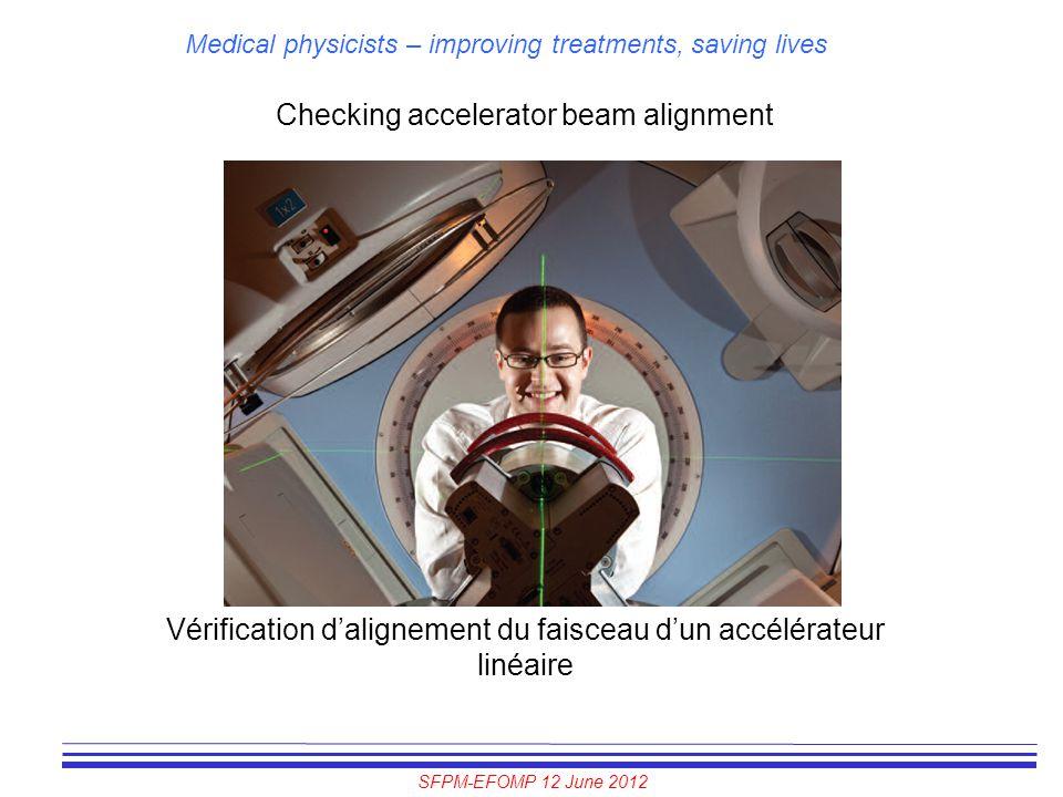 SFPM-EFOMP 12 June 2012 Medical physicists – improving treatments, saving lives Checking accelerator beam alignment Vérification d'alignement du faisc