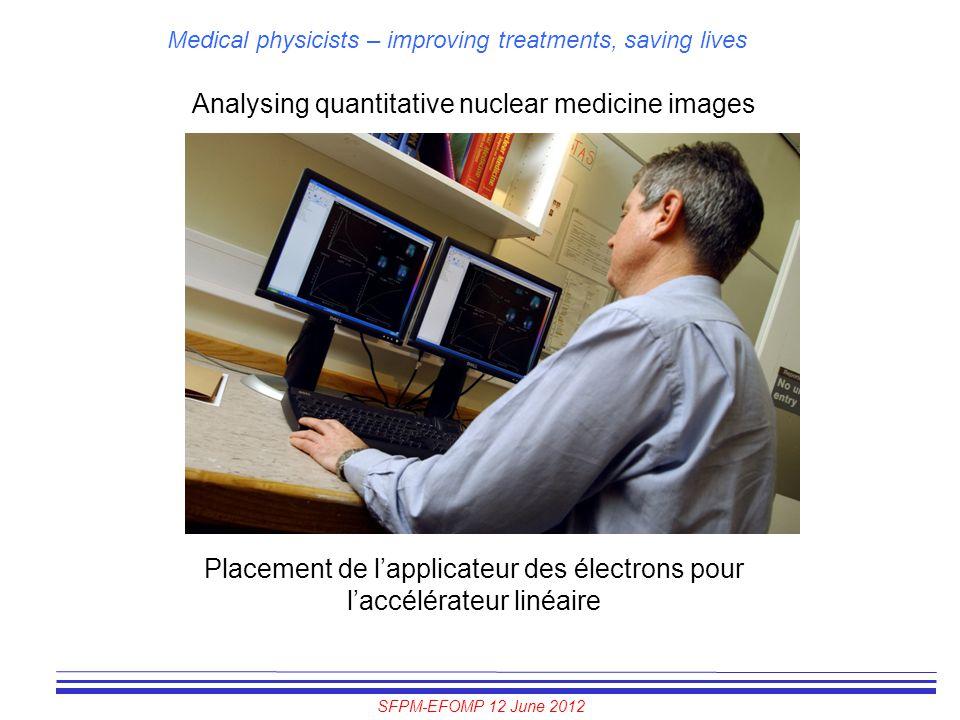 SFPM-EFOMP 12 June 2012 Medical physicists – improving treatments, saving lives Analysing quantitative nuclear medicine images Placement de l'applicat