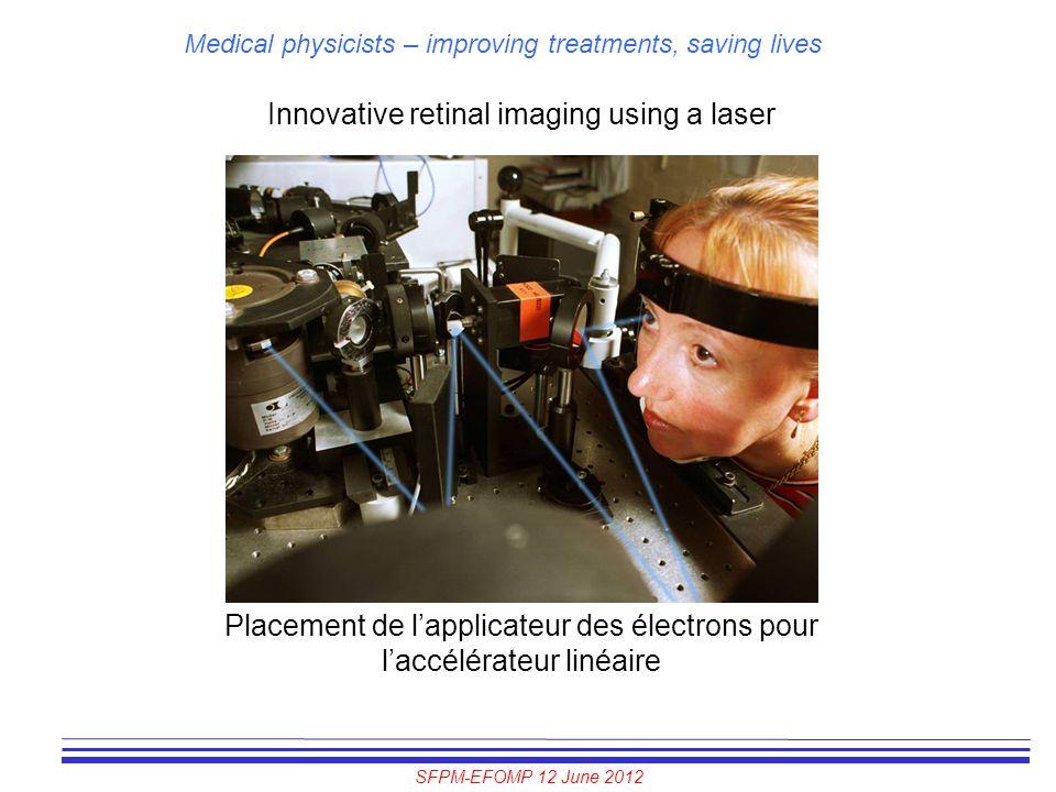 SFPM-EFOMP 12 June 2012 Medical physicists – improving treatments, saving lives Innovative retinal imaging using a laser Placement de l'applicateur de