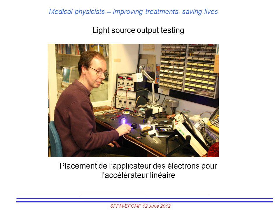 SFPM-EFOMP 12 June 2012 Medical physicists – improving treatments, saving lives Light source output testing Placement de l'applicateur des électrons p