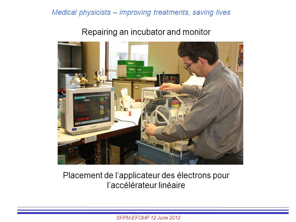 SFPM-EFOMP 12 June 2012 Medical physicists – improving treatments, saving lives Repairing an incubator and monitor Placement de l'applicateur des élec