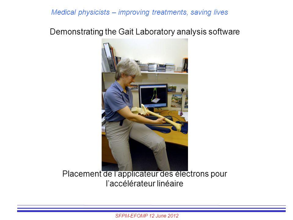 SFPM-EFOMP 12 June 2012 Medical physicists – improving treatments, saving lives Demonstrating the Gait Laboratory analysis software Placement de l'app
