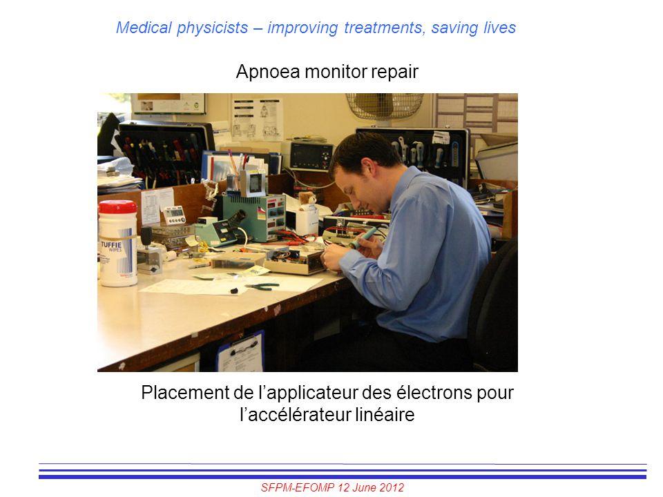 SFPM-EFOMP 12 June 2012 Medical physicists – improving treatments, saving lives Apnoea monitor repair Placement de l'applicateur des électrons pour l'