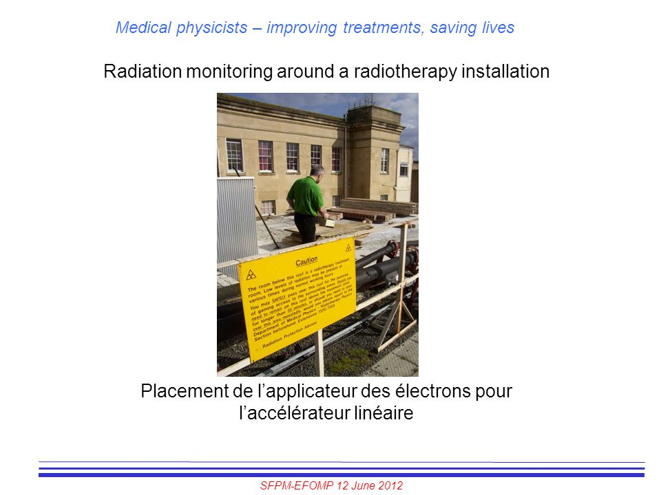 SFPM-EFOMP 12 June 2012 Medical physicists – improving treatments, saving lives Radiation monitoring around a radiotherapy installation Placement de l