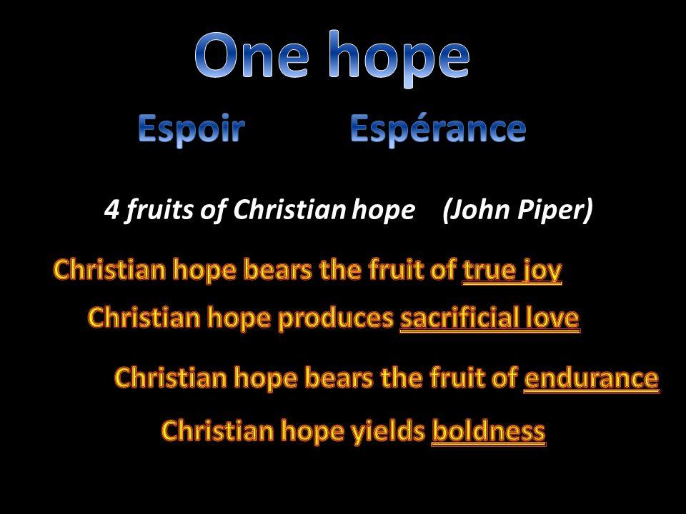 4 fruits of Christian hope (John Piper)