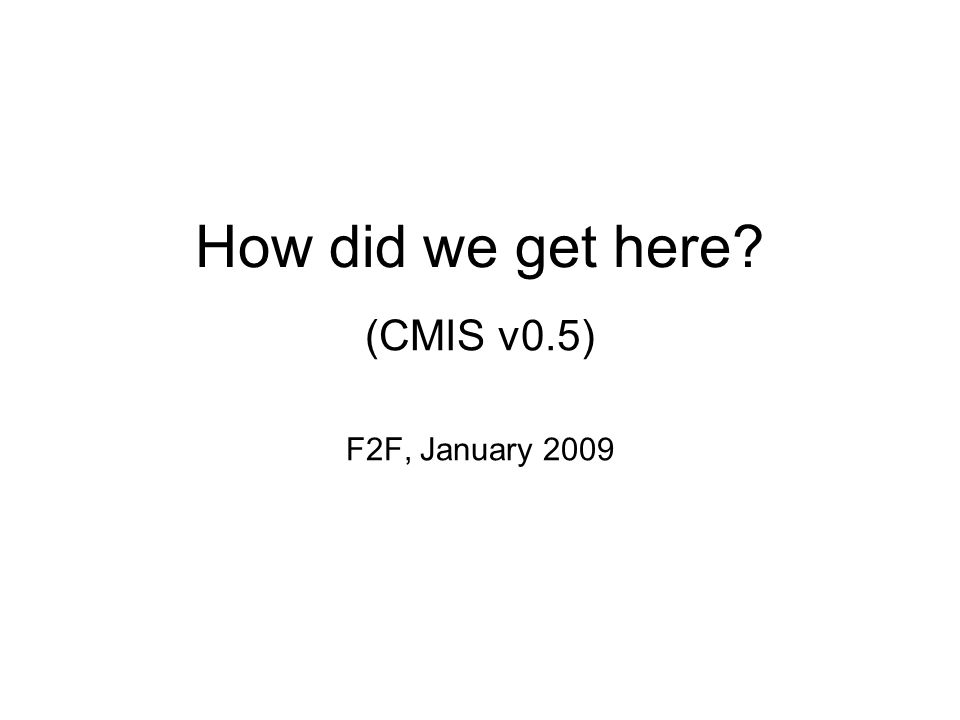 How did we get here (CMIS v0.5) F2F, January 2009