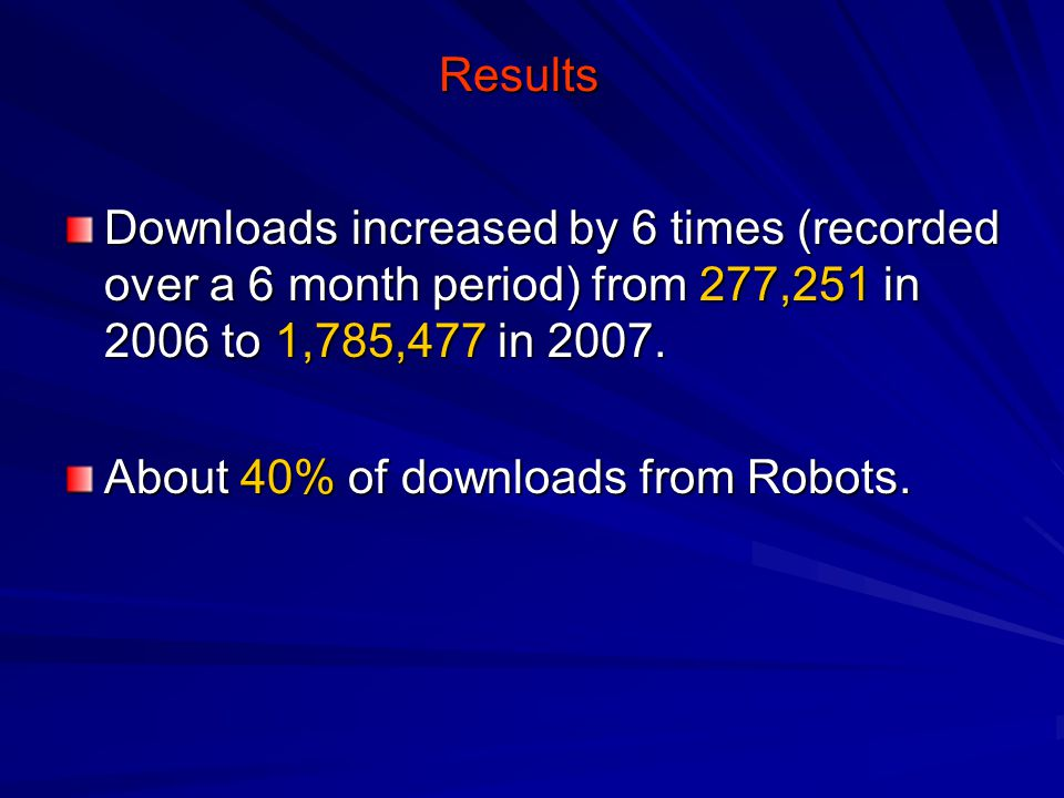 Results Downloads increased by 6 times (recorded over a 6 month period) from 277,251 in 2006 to 1,785,477 in 2007.