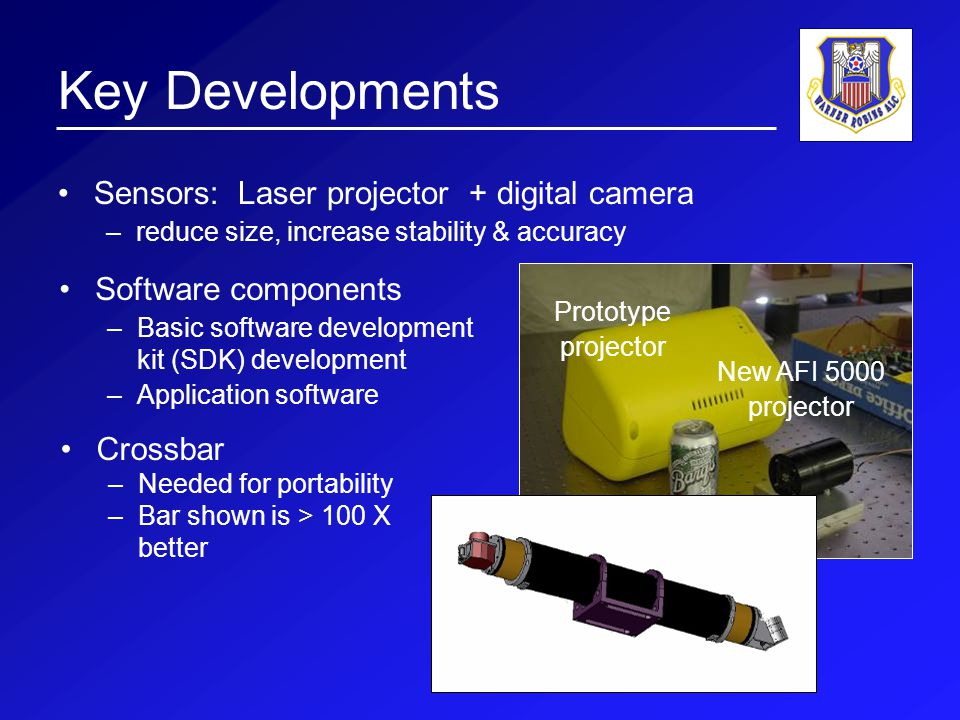 Key Developments Sensors: Laser projector + digital camera –reduce size, increase stability & accuracy New AFI 5000 projector Prototype projector Software components –Basic software development kit (SDK) development –Application software Crossbar –Needed for portability –Bar shown is > 100 X better