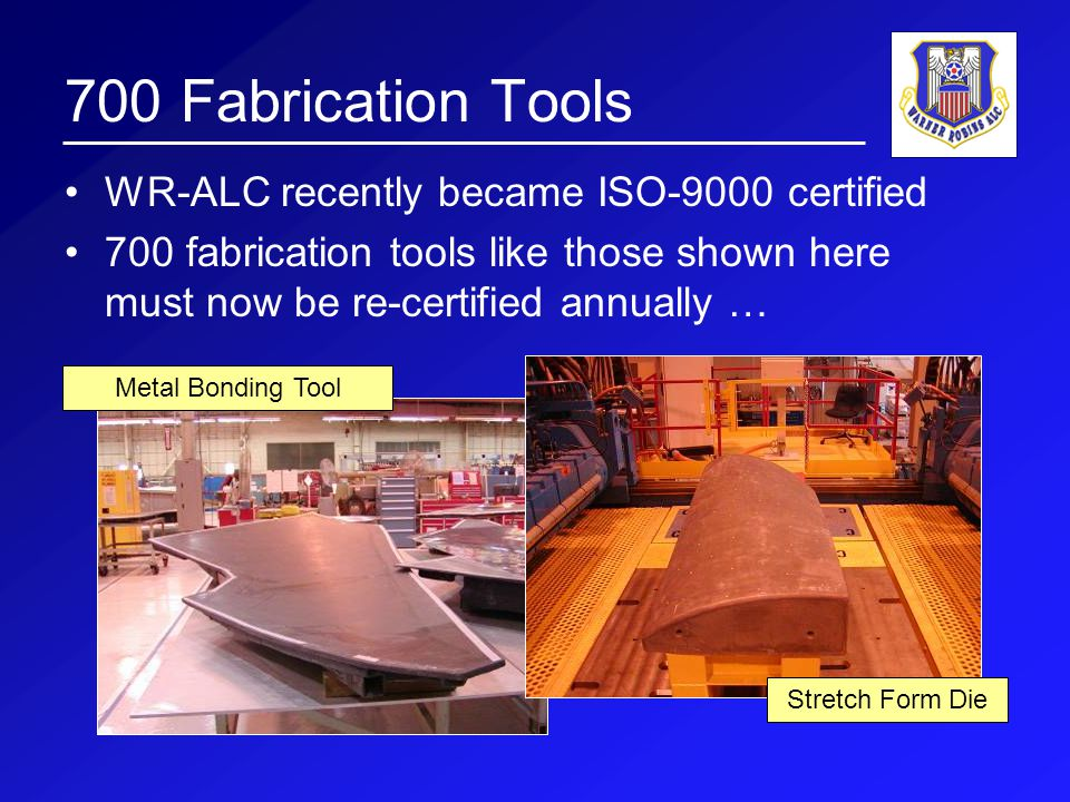 Urgent Need WR-ALC needs a very high performance surface scanner: –To support re- configurable press operations –To certify its 700 fabrication tools annually