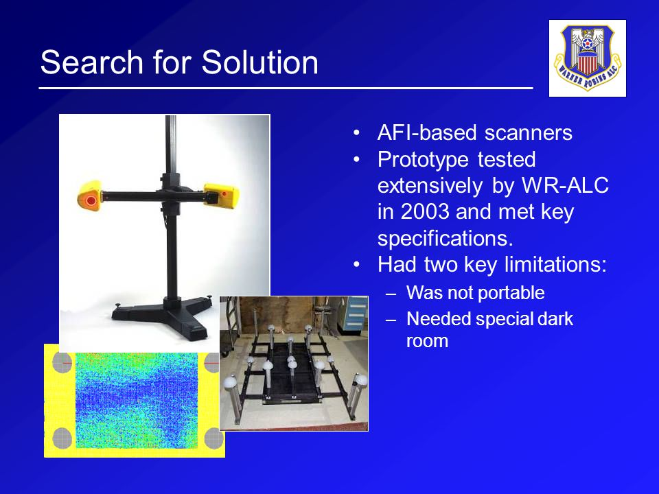 Search for Solution AFI-based scanners Prototype tested extensively by WR-ALC in 2003 and met key specifications.