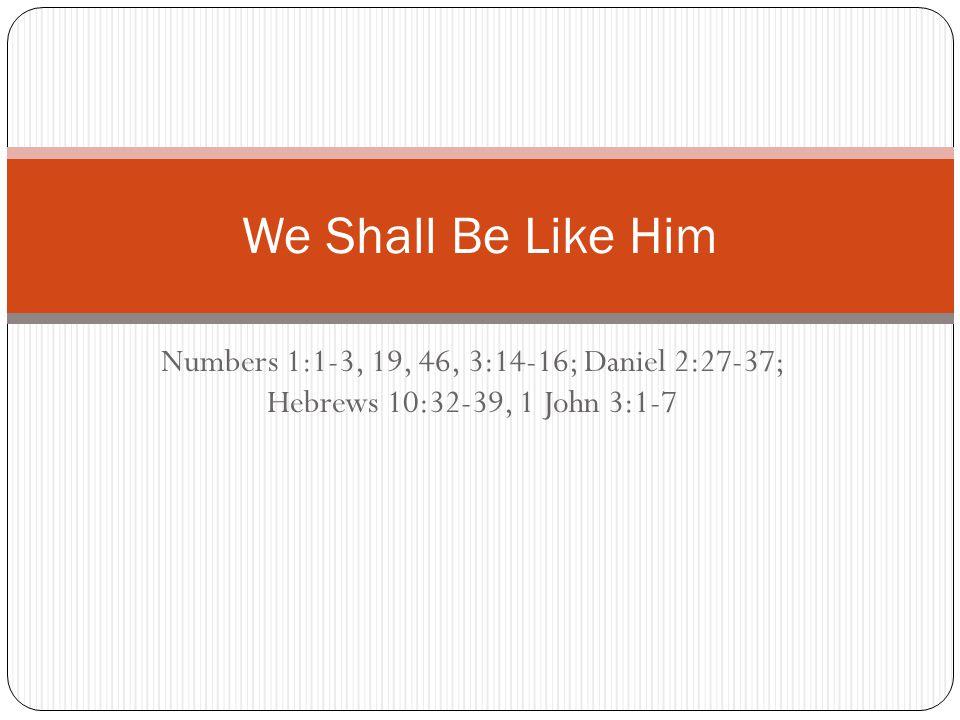 Numbers 1:1-3, 19, 46, 3:14-16; Daniel 2:27-37; Hebrews 10:32-39, 1 John 3:1-7 We Shall Be Like Him