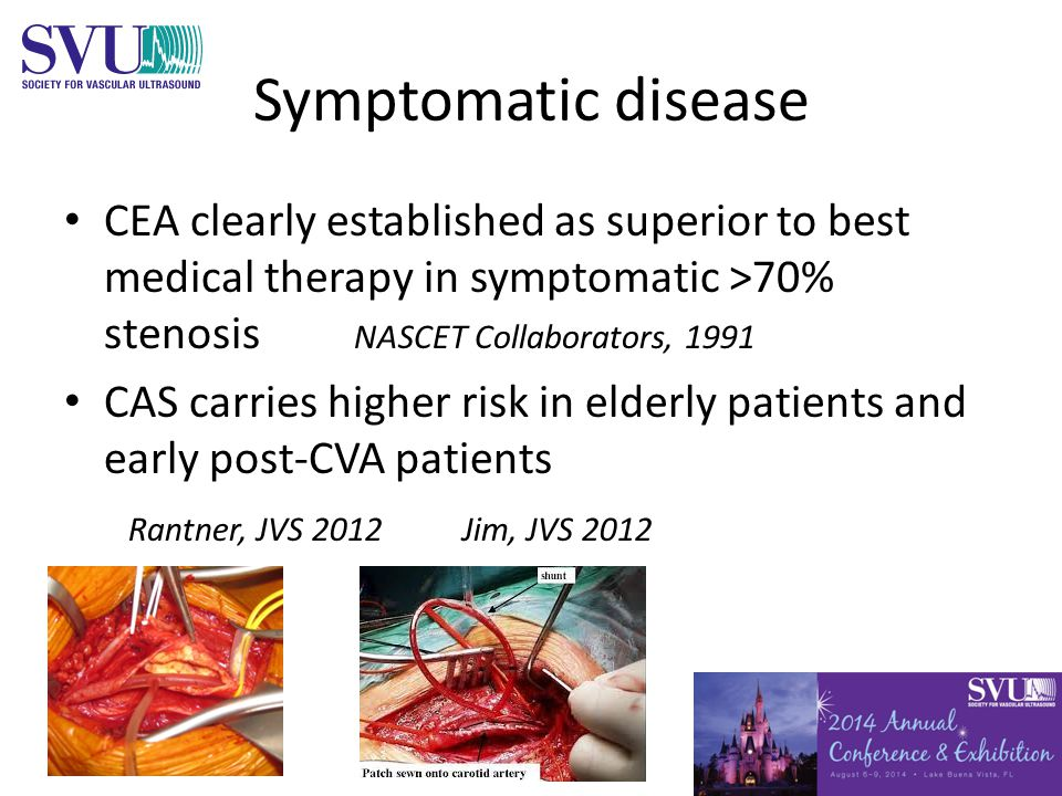 Symptomatic disease CEA clearly established as superior to best medical therapy in symptomatic >70% stenosis NASCET Collaborators, 1991 CAS carries higher risk in elderly patients and early post-CVA patients Rantner, JVS 2012 Jim, JVS 2012