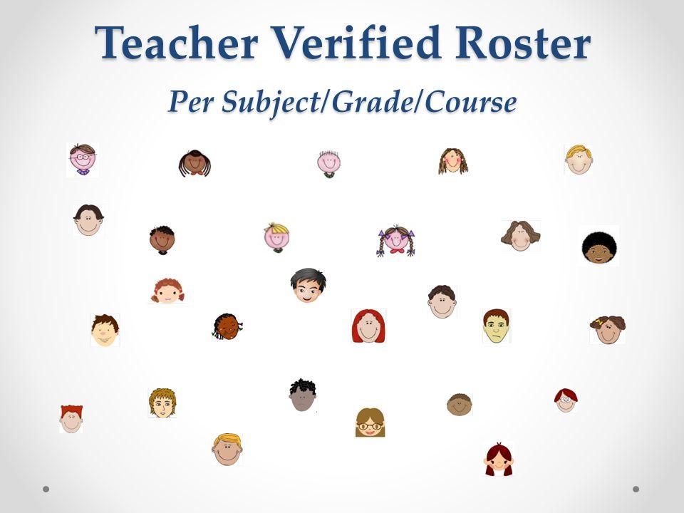 Teacher Verified Roster Per Subject/Grade/Course