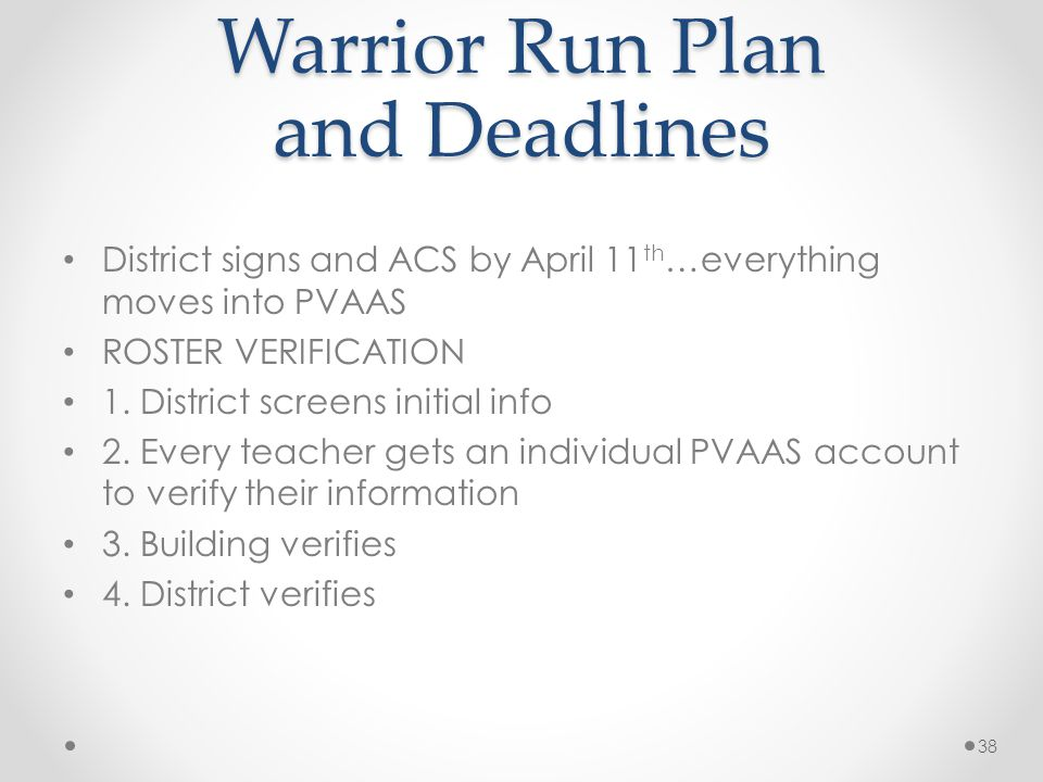 Warrior Run Plan and Deadlines District signs and ACS by April 11 th …everything moves into PVAAS ROSTER VERIFICATION 1.