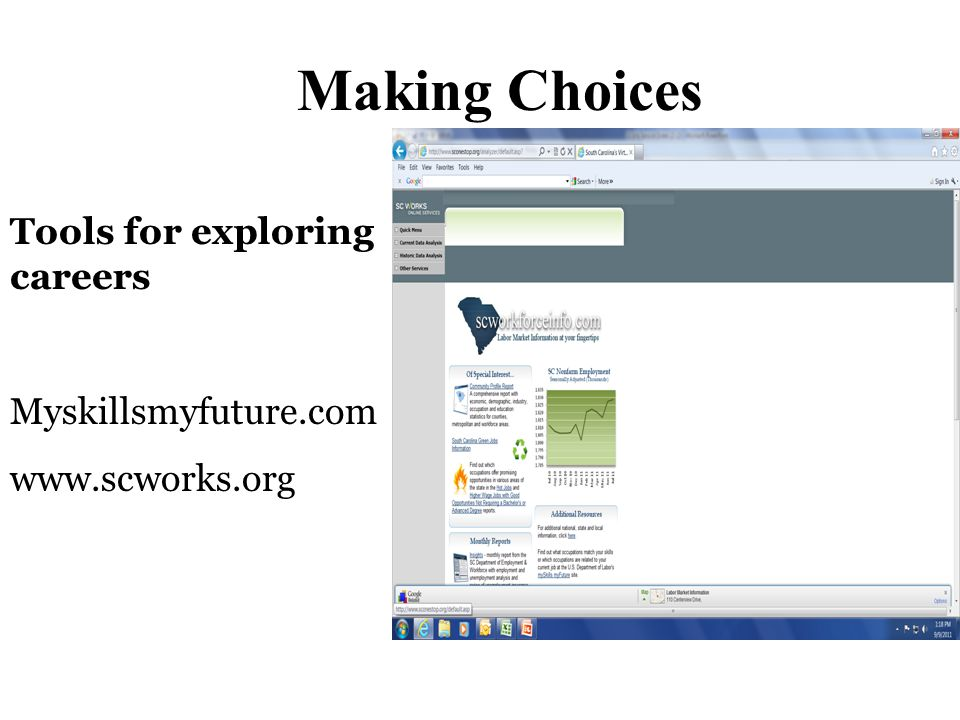 Making Choices Tools for exploring careers Myskillsmyfuture.com www.scworks.org
