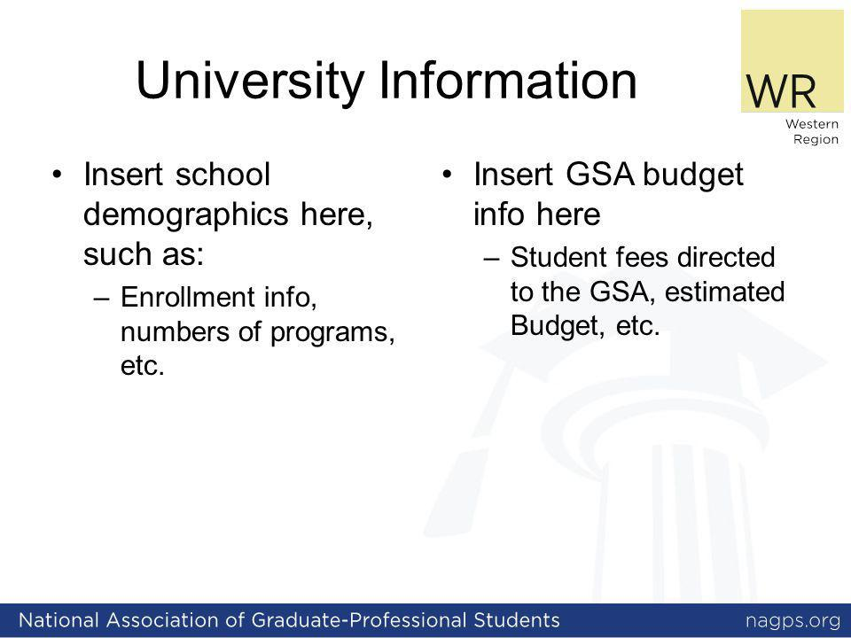 University Information Insert school demographics here, such as: –Enrollment info, numbers of programs, etc. Insert GSA budget info here – Student fee
