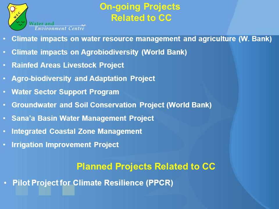 On-going Projects Related to CC Climate impacts on water resource management and agriculture (W. Bank) Climate impacts on Agrobiodiversity (World Bank
