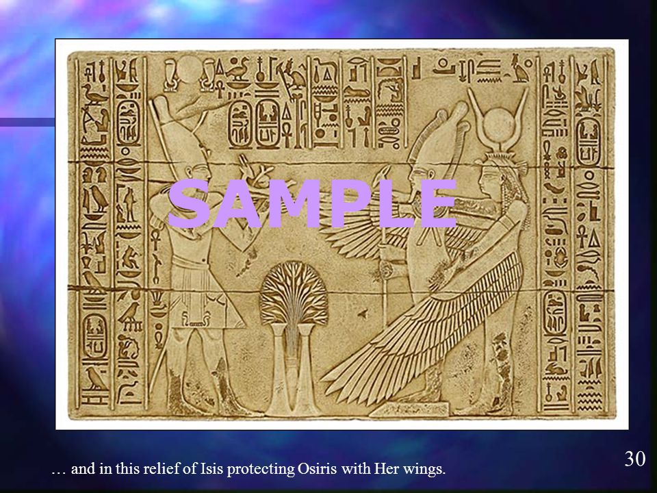 30 SAMPLE … and in this relief of Isis protecting Osiris with Her wings.