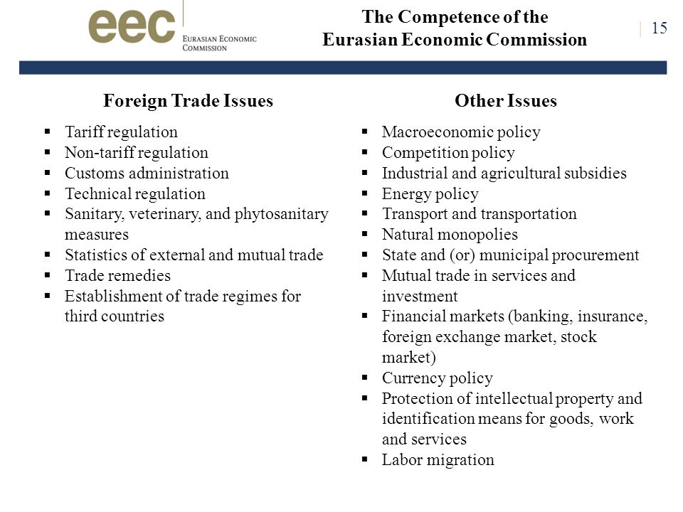 Foreign Trade Issues  Tariff regulation  Non-tariff regulation  Customs administration  Technical regulation  Sanitary, veterinary, and phytosanitary measures  Statistics of external and mutual trade  Trade remedies  Establishment of trade regimes for third countries The Competence of the Eurasian Economic Commission | 15 Other Issues  Macroeconomic policy  Competition policy  Industrial and agricultural subsidies  Energy policy  Transport and transportation  Natural monopolies  State and (or) municipal procurement  Mutual trade in services and investment  Financial markets (banking, insurance, foreign exchange market, stock market)  Currency policy  Protection of intellectual property and identification means for goods, work and services  Labor migration