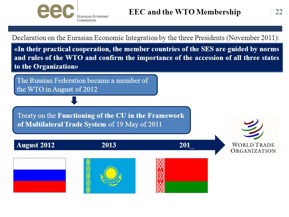 The Russian Federation became a member of the WTO in August of 2012 Declaration on the Eurasian Economic Integration by the three Presidents (November 2011): «In their practical cooperation, the member countries of the SES are guided by norms and rules of the WTO and confirm the importance of the accession of all three states to the Organization» August 2012 2013 201_ Treaty on the Functioning of the CU in the Framework of Multilateral Trade System of 19 May of 2011 | 22 EEC and the WTO Membership