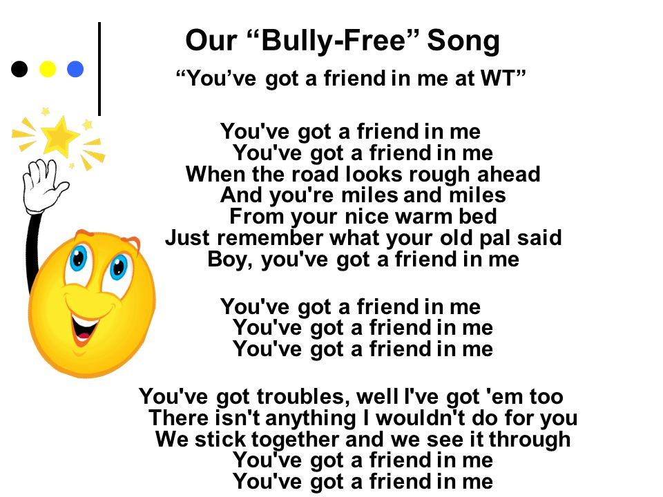 Bully-Free Rules 1.We will not bully others 2. We will help students that are left out 3.