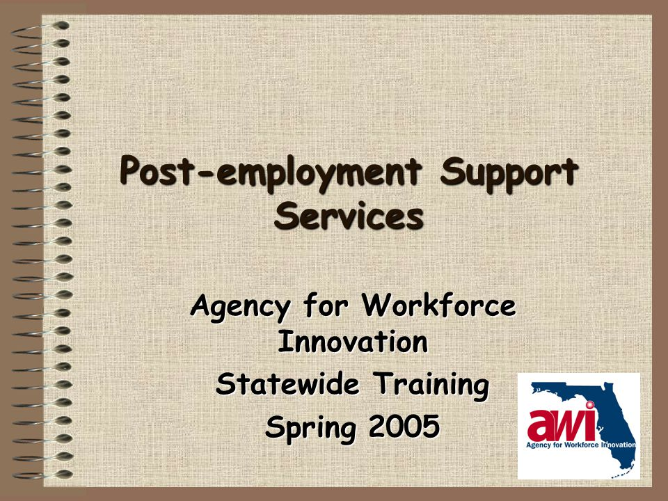 Post-employment Support Services Agency for Workforce Innovation Statewide Training Spring 2005