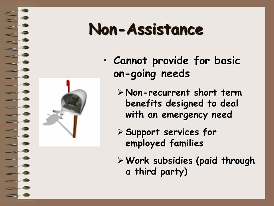 Non-Assistance Cannot provide for basic on-going needs  Non-recurrent short term benefits designed to deal with an emergency need  Support services for employed families  Work subsidies (paid through a third party)