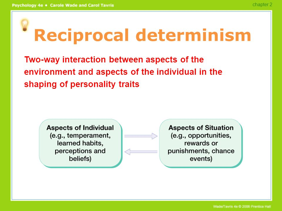 Reciprocal determinism Two-way interaction between aspects of the environment and aspects of the individual in the shaping of personality traits chapt