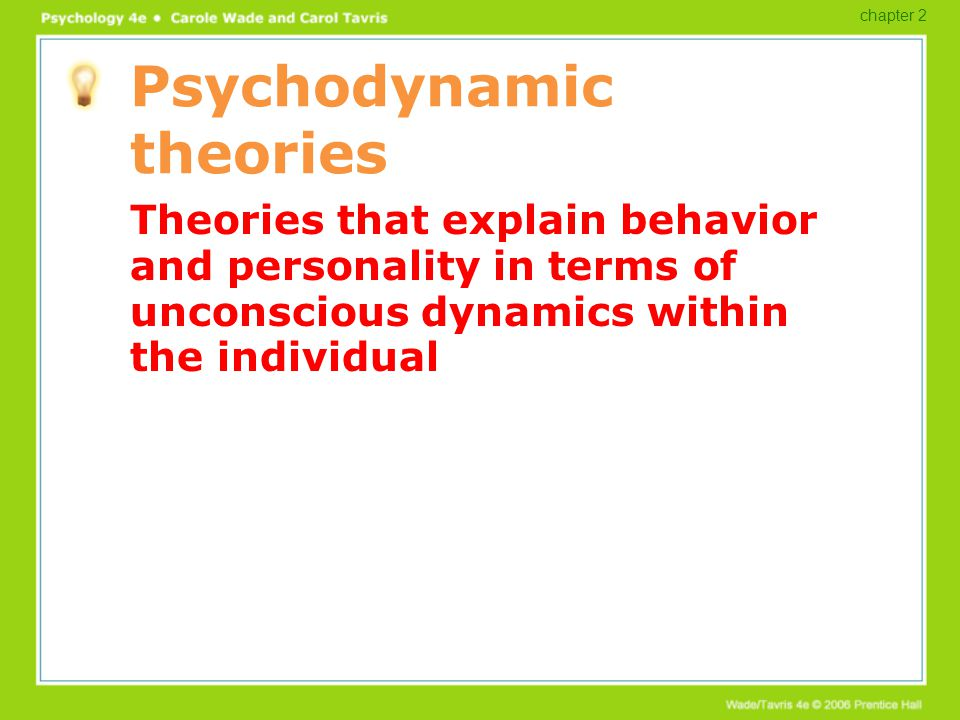The structure of personality Id: operates according to the pleasure principle Primitive, unconscious part of personality Ego: operates according to the reality principle Mediates between id and superego Superego: moral ideals, conscience chapter 2