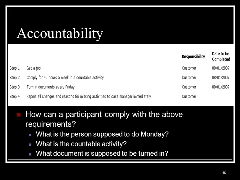 16 Accountability How can a participant comply with the above requirements.