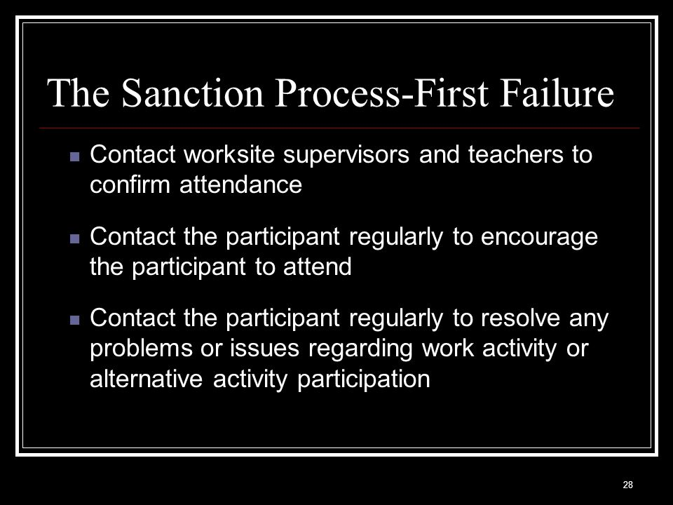 28 The Sanction Process-First Failure Contact worksite supervisors and teachers to confirm attendance Contact the participant regularly to encourage the participant to attend Contact the participant regularly to resolve any problems or issues regarding work activity or alternative activity participation