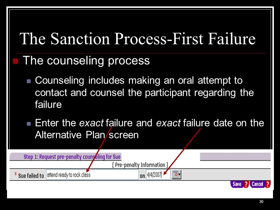 30 The Sanction Process-First Failure The counseling process Counseling includes making an oral attempt to contact and counsel the participant regarding the failure Enter the exact failure and exact failure date on the Alternative Plan screen