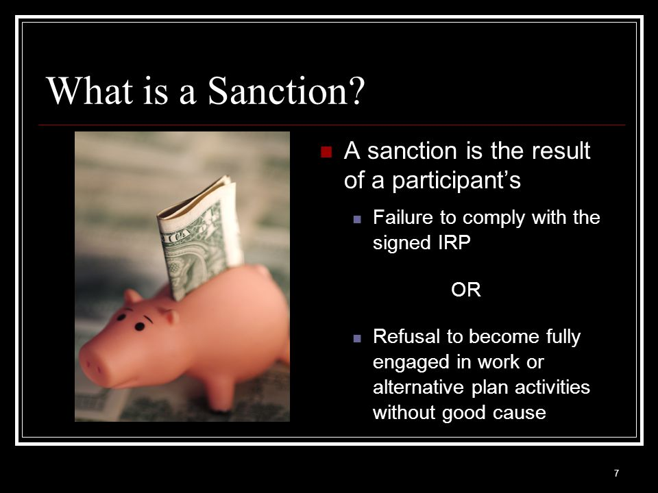 7 What is a Sanction.