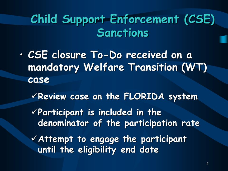 4 Child Support Enforcement (CSE) Sanctions CSE closure To-Do received on a mandatory Welfare Transition (WT) caseCSE closure To-Do received on a mandatory Welfare Transition (WT) case Review case on the FLORIDA system Review case on the FLORIDA system Participant is included in the denominator of the participation rate Participant is included in the denominator of the participation rate Attempt to engage the participant until the eligibility end date Attempt to engage the participant until the eligibility end date