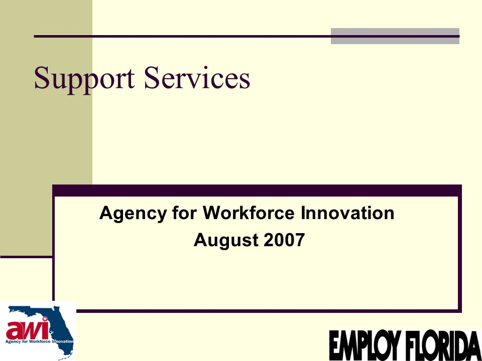 1 Support Services Agency for Workforce Innovation August 2007
