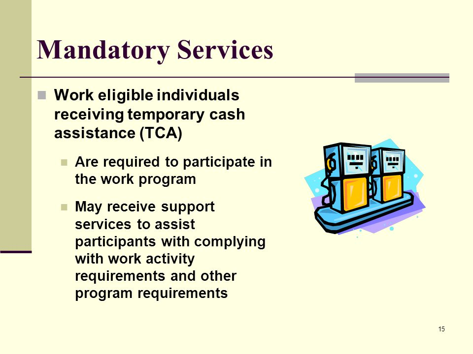 15 Mandatory Services Work eligible individuals receiving temporary cash assistance (TCA) Are required to participate in the work program May receive support services to assist participants with complying with work activity requirements and other program requirements