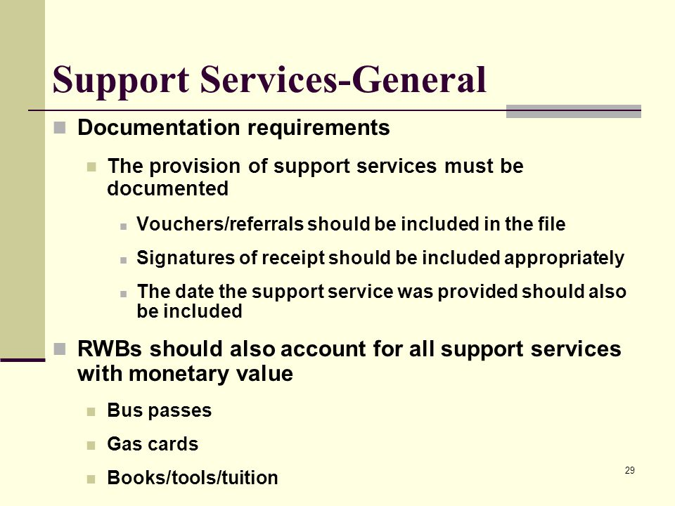 29 Support Services-General Documentation requirements The provision of support services must be documented Vouchers/referrals should be included in t
