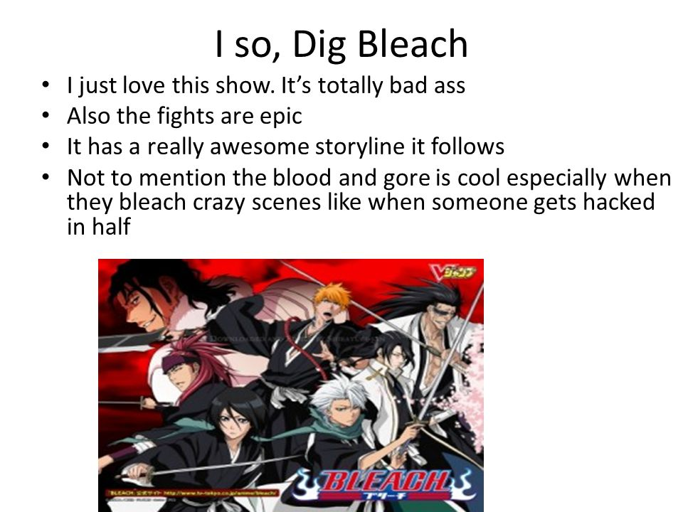 I so, Dig Bleach I just love this show.