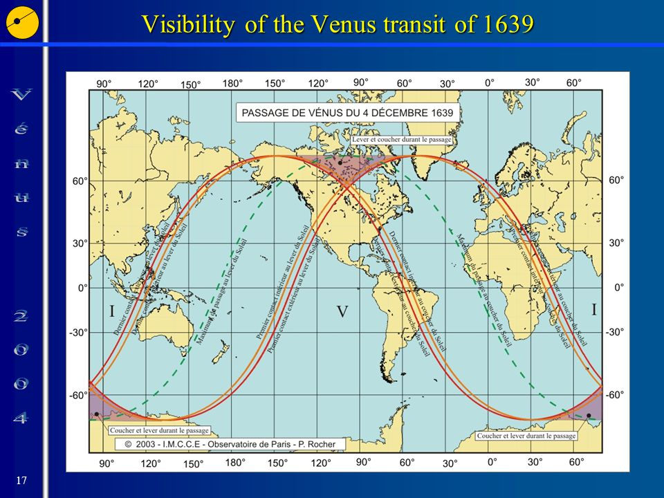 17 Visibility of the Venus transit of 1639