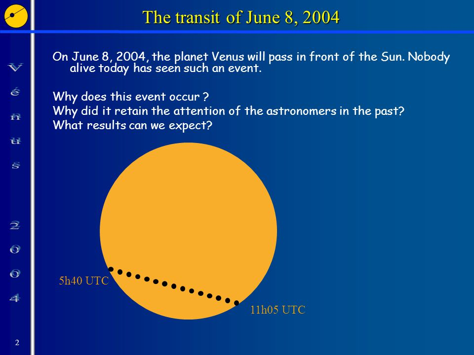 2 The transit of June 8, 2004 On June 8, 2004, the planet Venus will pass in front of the Sun.
