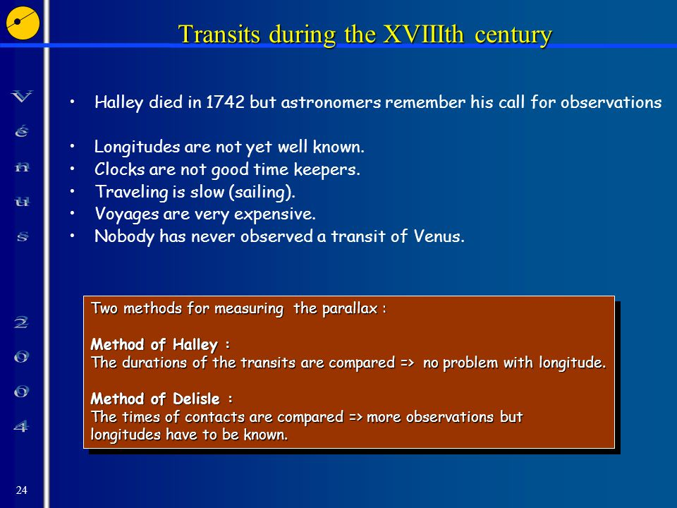 24 Transits during the XVIIIth century Halley died in 1742 but astronomers remember his call for observations Longitudes are not yet well known.