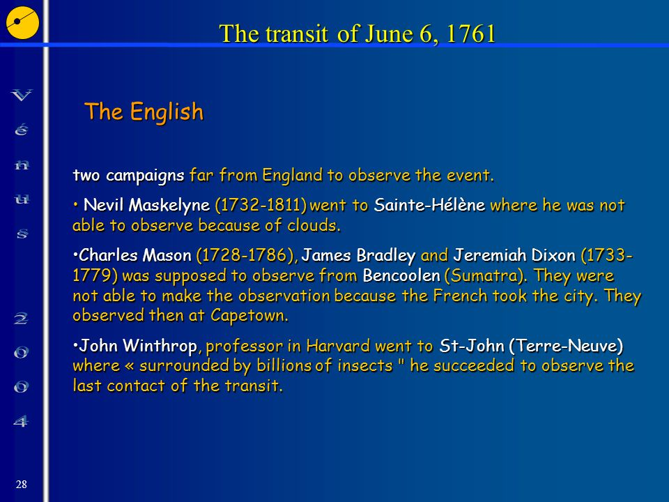 28 The transit of June 6, 1761 The English two campaigns far from England to observe the event.